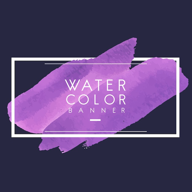 Paarse aquarel banner ontwerp vector Gratis Vector