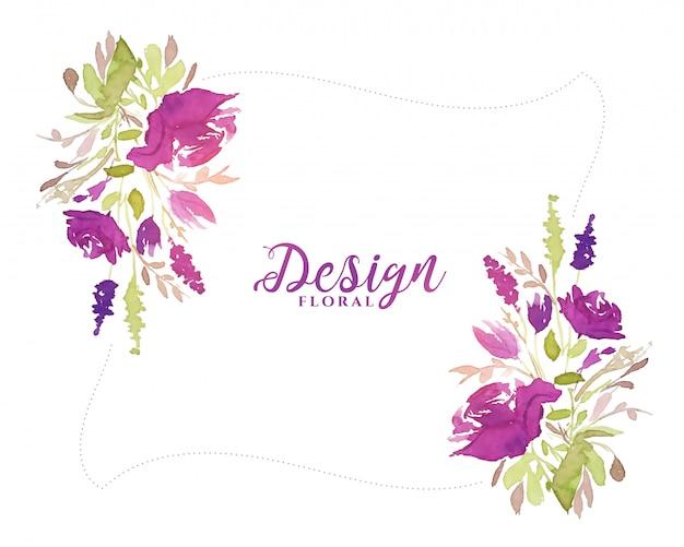 Paarse aquarel bloem decoratieve bloemen achtergrond Gratis Vector