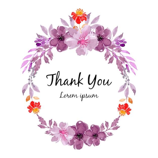 Paarse aquarel bloemen krans frame Premium Vector