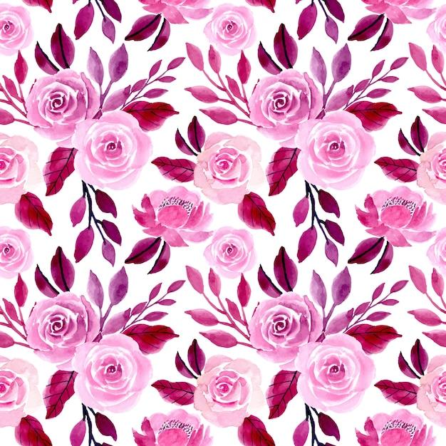 Paarse aquarel naadloze bloemmotief Premium Vector