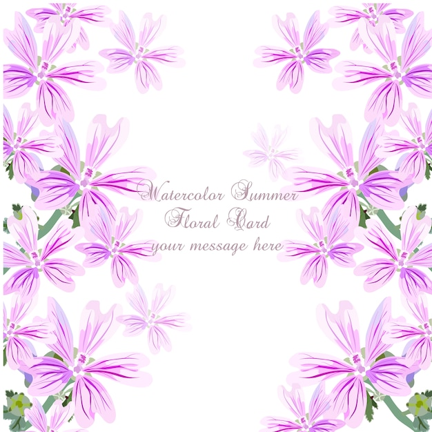 Paarse aquarel zomer bloemen kaart Gratis Vector