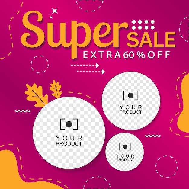 Paarse banner abstracte achtergrond flash-verkoop 60% korting Premium Vector