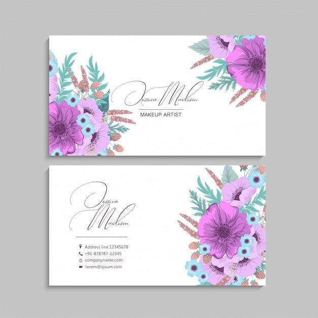 Paarse bloem visitekaartjes Premium Vector