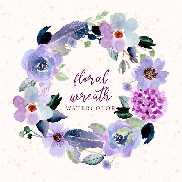 Paarse bloemen en veren aquarel krans Premium Vector