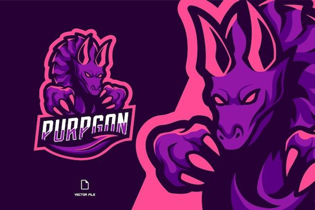 Paarse draak mascotte sport game logo illustratie voor sport gaming team Premium Vector