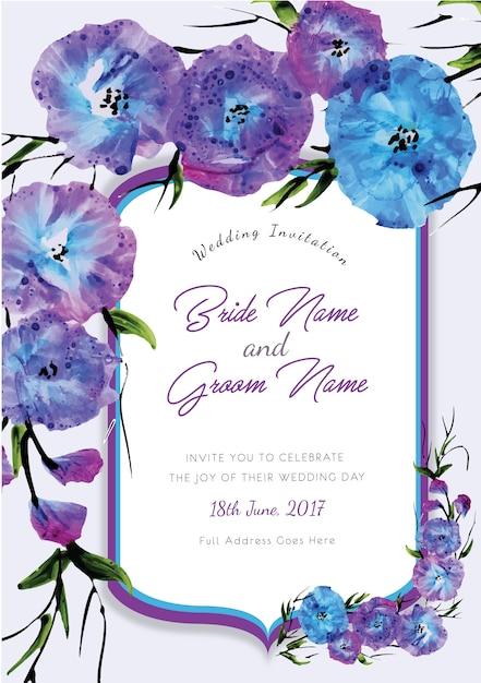 Paarse en blauwe bloemenhuwelijksuitnodiging Gratis Vector