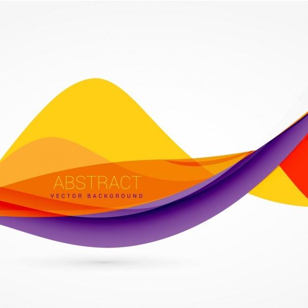 Paarse en gele kleur golf achtergrond ontwerp Gratis Vector