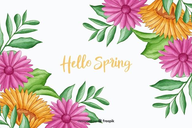 Paarse flora met hallo lente citaat Gratis Vector
