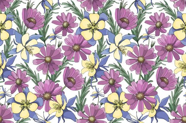 Paarse, gele, blauwe vector tuin bloemen geïsoleerd op wit Premium Vector