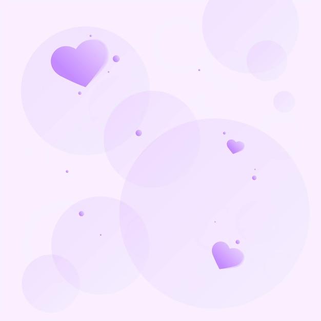 Paarse harten in bellen Gratis Vector