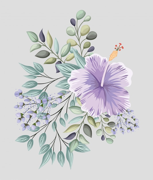 Paarse hawaiiaanse bloem met bladeren schilderij ontwerp, natuurlijke bloemen natuur plant ornament tuindecoratie en plantkunde thema illustratie Premium Vector
