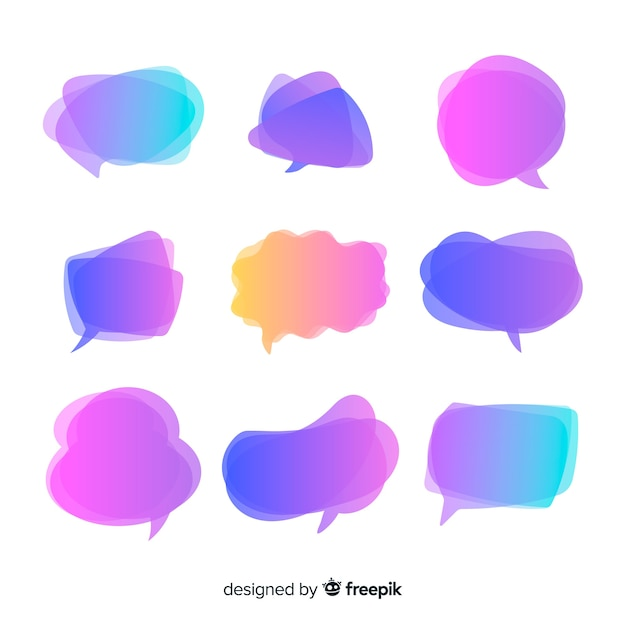 Paarse kleurovergang tekstballonnen Gratis Vector
