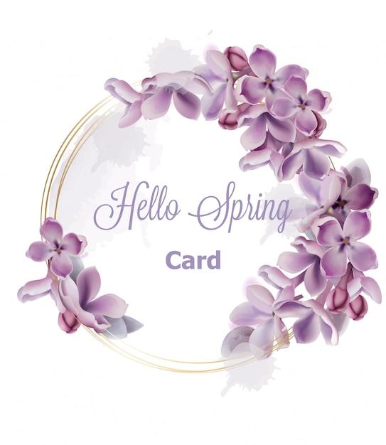 Paarse lila bloemen krans kaart aquarel Premium Vector