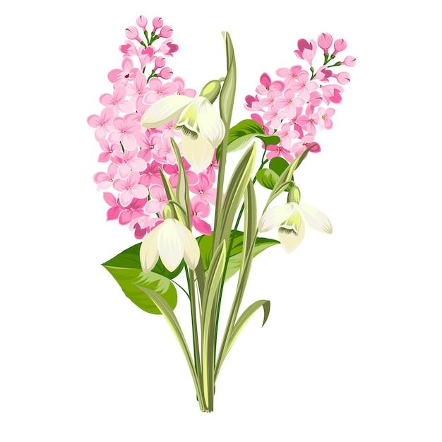 Paarse lila bloemen van syringa en witte galanthus. botanische illustratie voor lente boeket. Premium Vector