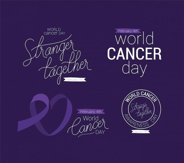 Paarse lint vreemdeling samen en ondersteunen tekstontwerp, werelddag van kanker vier februari bewustmakingscampagne ziektepreventie en stichting thema Premium Vector