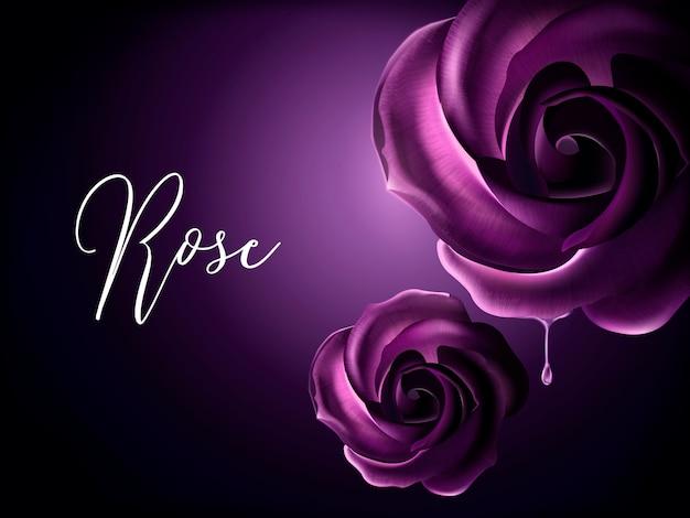 Paarse rozenelementen, decoratieve bloemenelementen op purpere achtergrond in illustratie Premium Vector