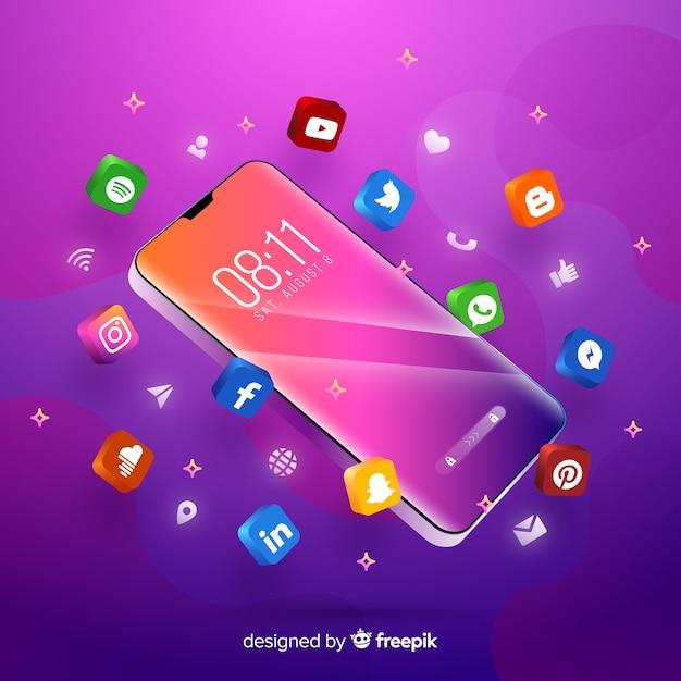 Paarse thema mobiele telefoon omringd door kleurrijke apps Gratis Vector