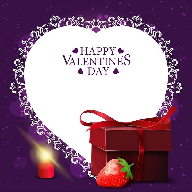Paarse valentijnsdag wenskaart Premium Vector