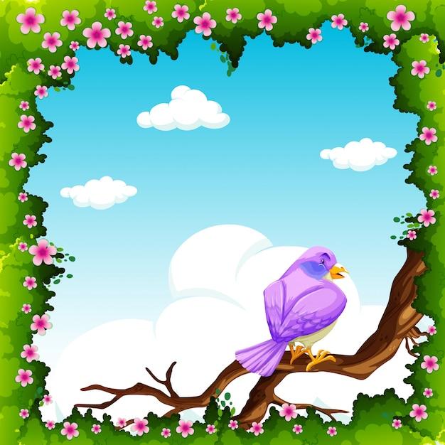 Paarse vogel op de tak Gratis Vector