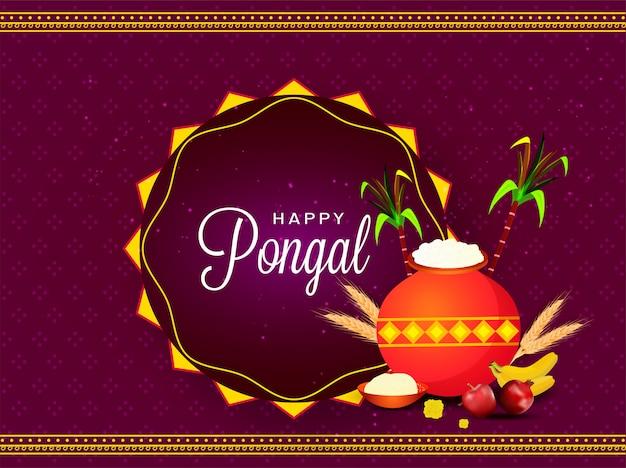 Paarse wenskaart met modder pot vol rijst, fruit, tarwe oor en suikerriet voor happy pongal viering. Premium Vector