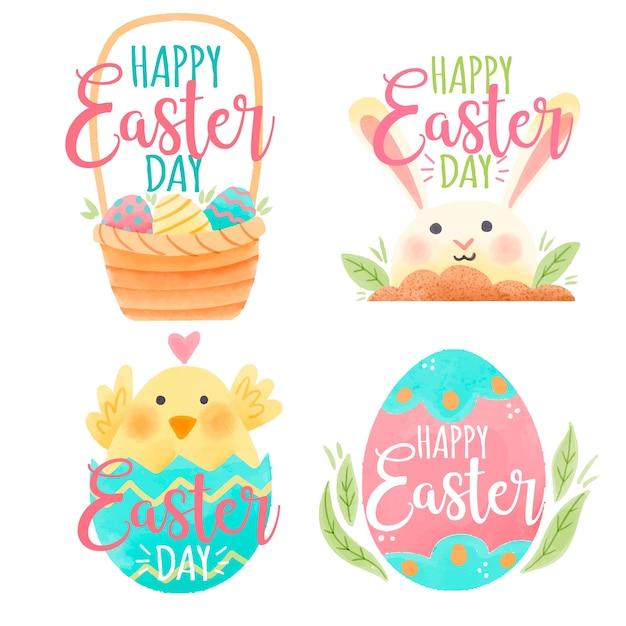 Paasdag badge aquarel met konijn en kip Gratis Vector