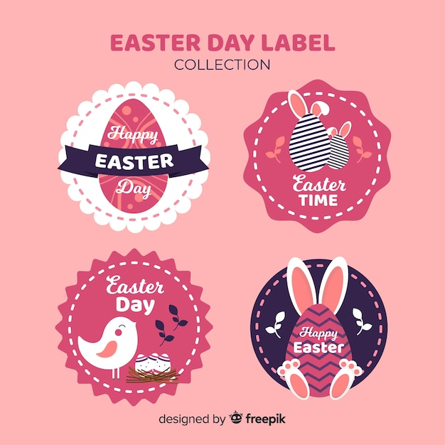 Paasdag badge collectie Gratis Vector