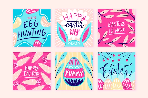 Paasdag instagram post set Gratis Vector