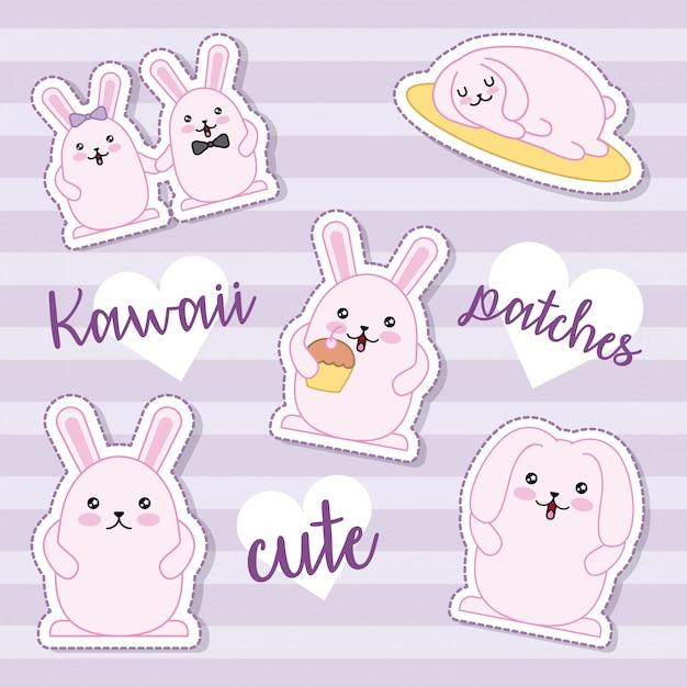 Paasdag kawaii sticker collectie Gratis Vector