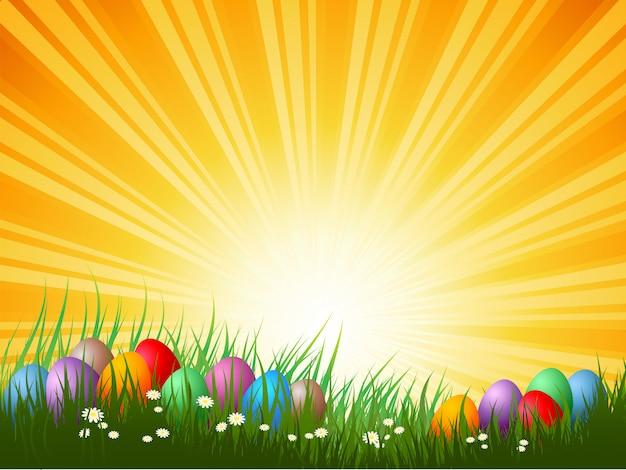 Paaseieren in gras op een zonnige dag Gratis Vector