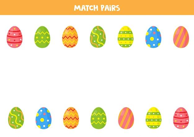 Paaseieren matching game voor kleuters. vind paren. educatief werkblad voor kinderen. Premium Vector
