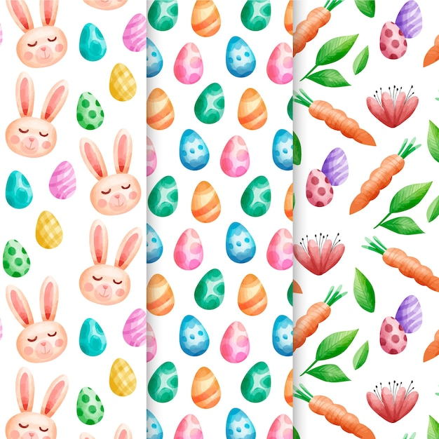 Paasvakantie aquarel patroon ingesteld met bunny avatars Gratis Vector