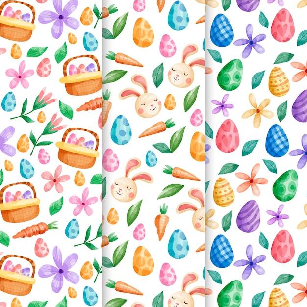 Paasvakantie aquarel patroon ingesteld met eieren en bloemen Gratis Vector
