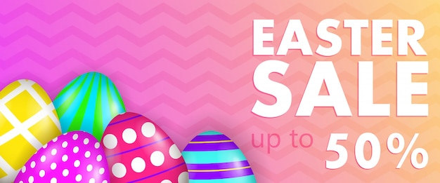 Paasverkoop, tot 50 procent belettering met versierde eieren Gratis Vector