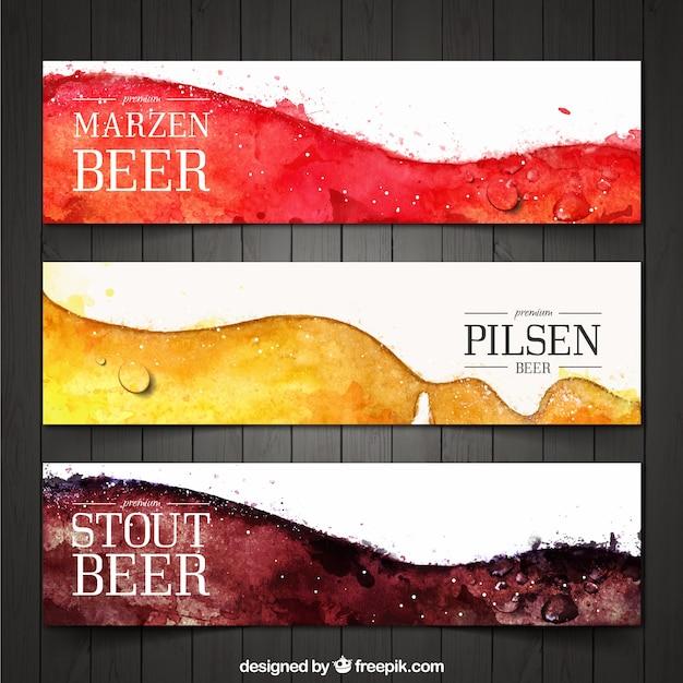 Pack bier abstract aquarel banners Gratis Vector
