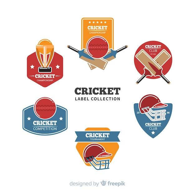 Pack cricket-etiketten Gratis Vector