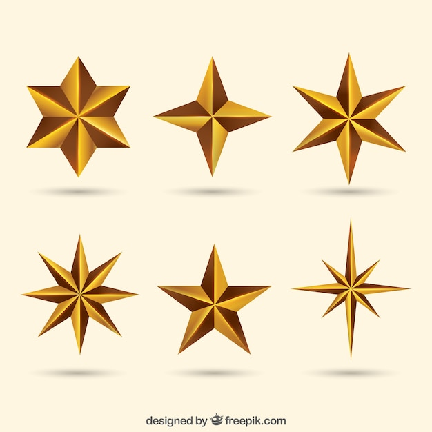 Pack met decoratieve sterren Gratis Vector