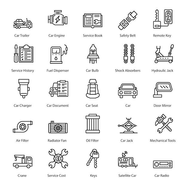 Pack pictogrammen van auto-accessoires Premium Vector