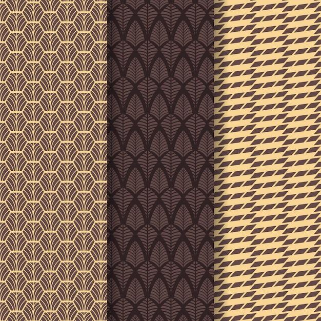 Pack van art deco naadloos patroon Gratis Vector