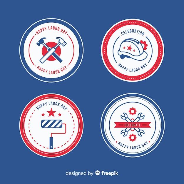 Pack van badges voor platte werkdagen Gratis Vector