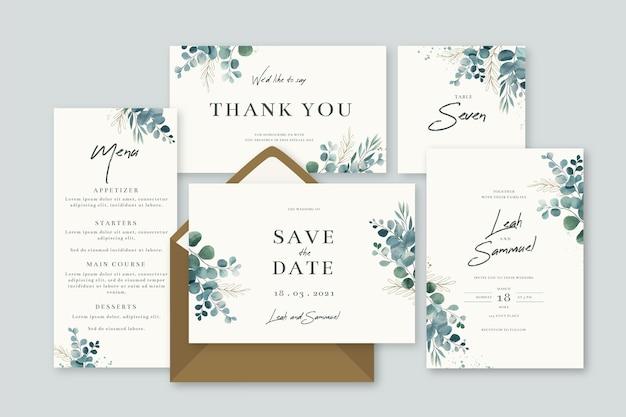 Pack van bloemen bruiloft briefpapier Gratis Vector