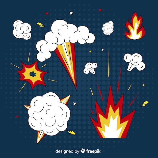 Pack van bommen en explosie-effecten Gratis Vector