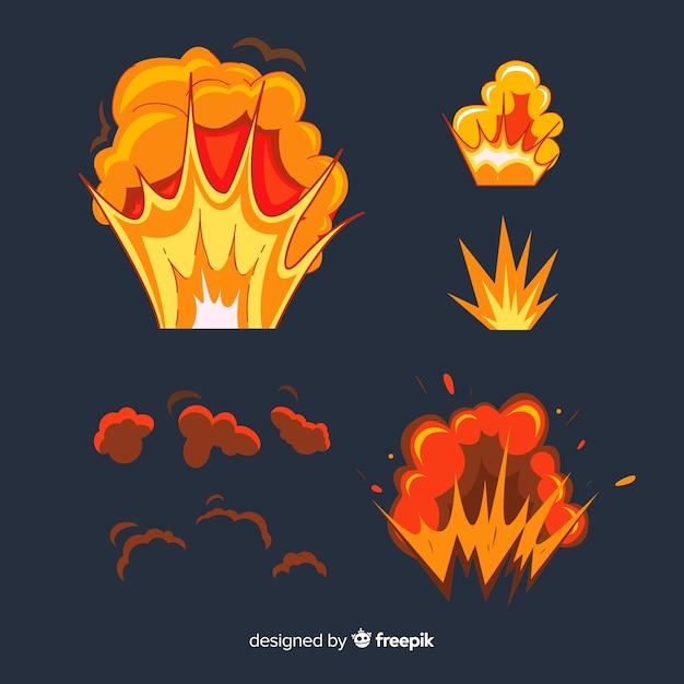 Pack van bommen en explosies cartoon stijl Gratis Vector