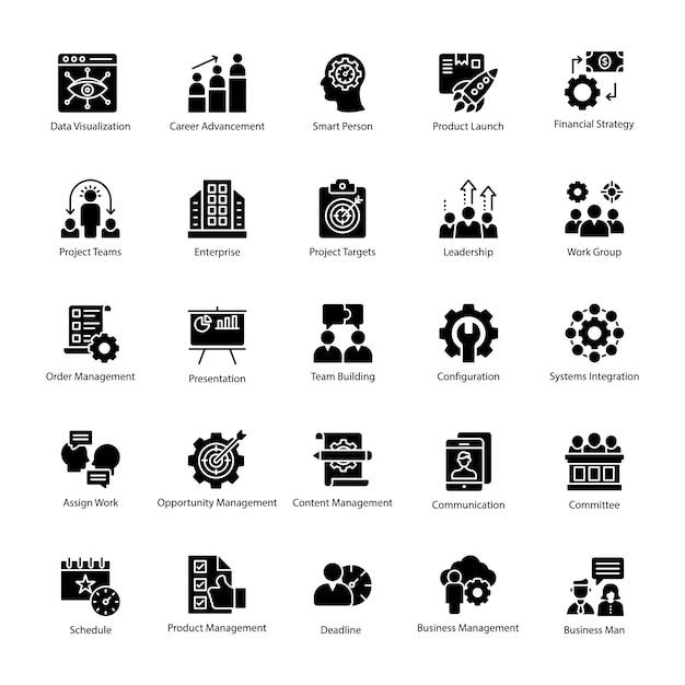 Pack van business management pictogram vector Premium Vector