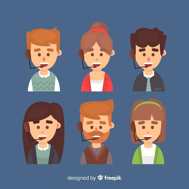 Pack van callcenter avatars Gratis Vector