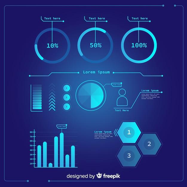 Pack van futuristische infographic element Gratis Vector