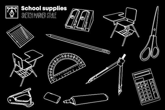 Pack van geïsoleerde tekeningen van schoolbenodigdheden Premium Vector