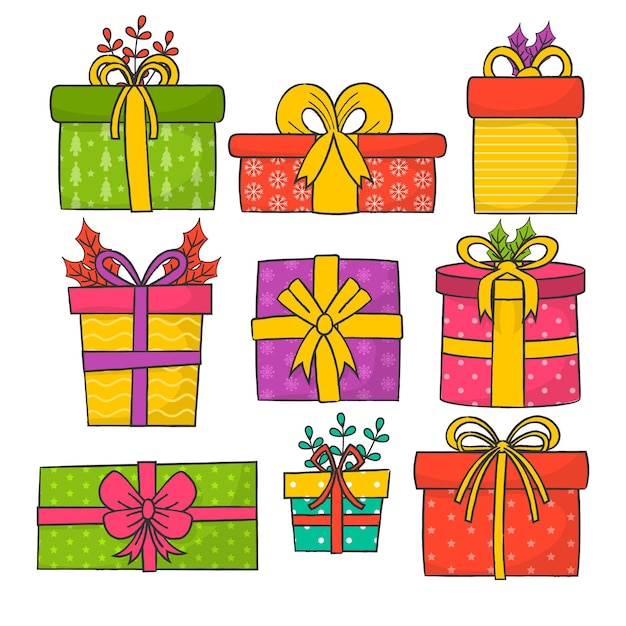 Pack van getekende kerstcadeaus Gratis Vector