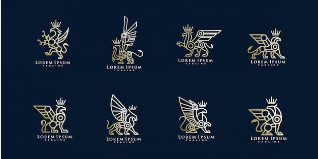 Pack van griffin logo sjabloon Premium Vector