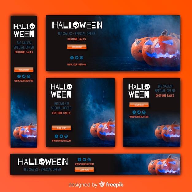 Pack van halloween web verkoop banners Gratis Vector