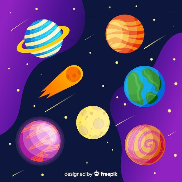 Pack van hand getrokken planetenstickers Gratis Vector
